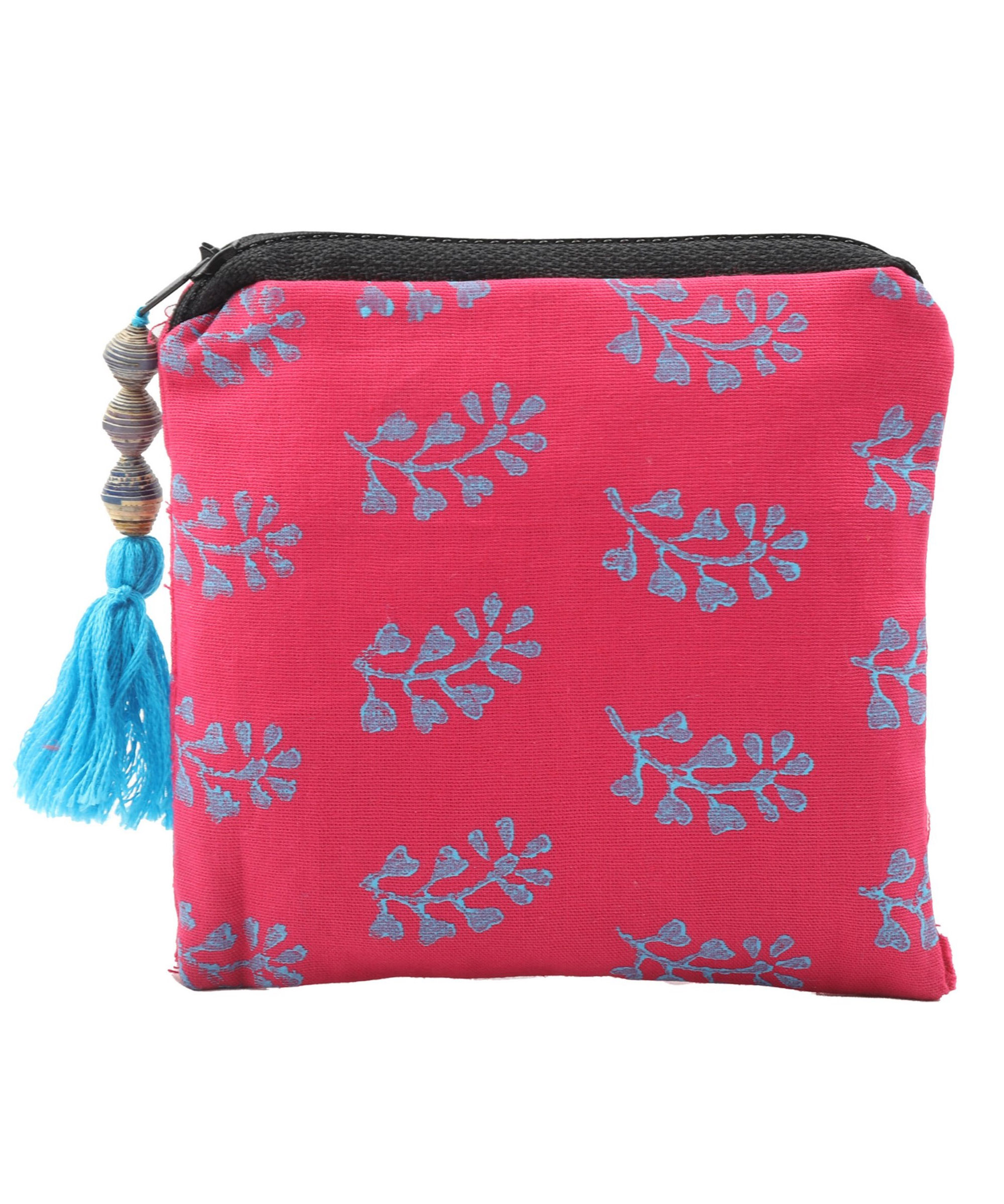 Patchwork Block Printed Coin Pouch, Poplin Cotton Fabric (Set of 4) Slider Thumbnail 2/4