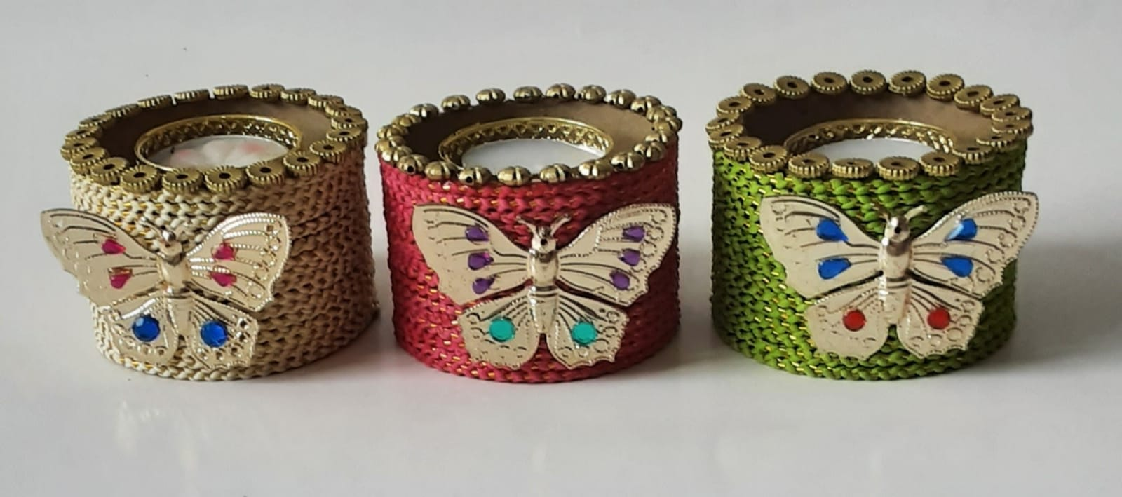 Assorted colors candle stands with Butterfly (Set of 2) Slider Thumbnail 1/1