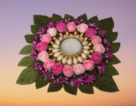 Flowers Diya Plate Slider Thumbnail 4/6