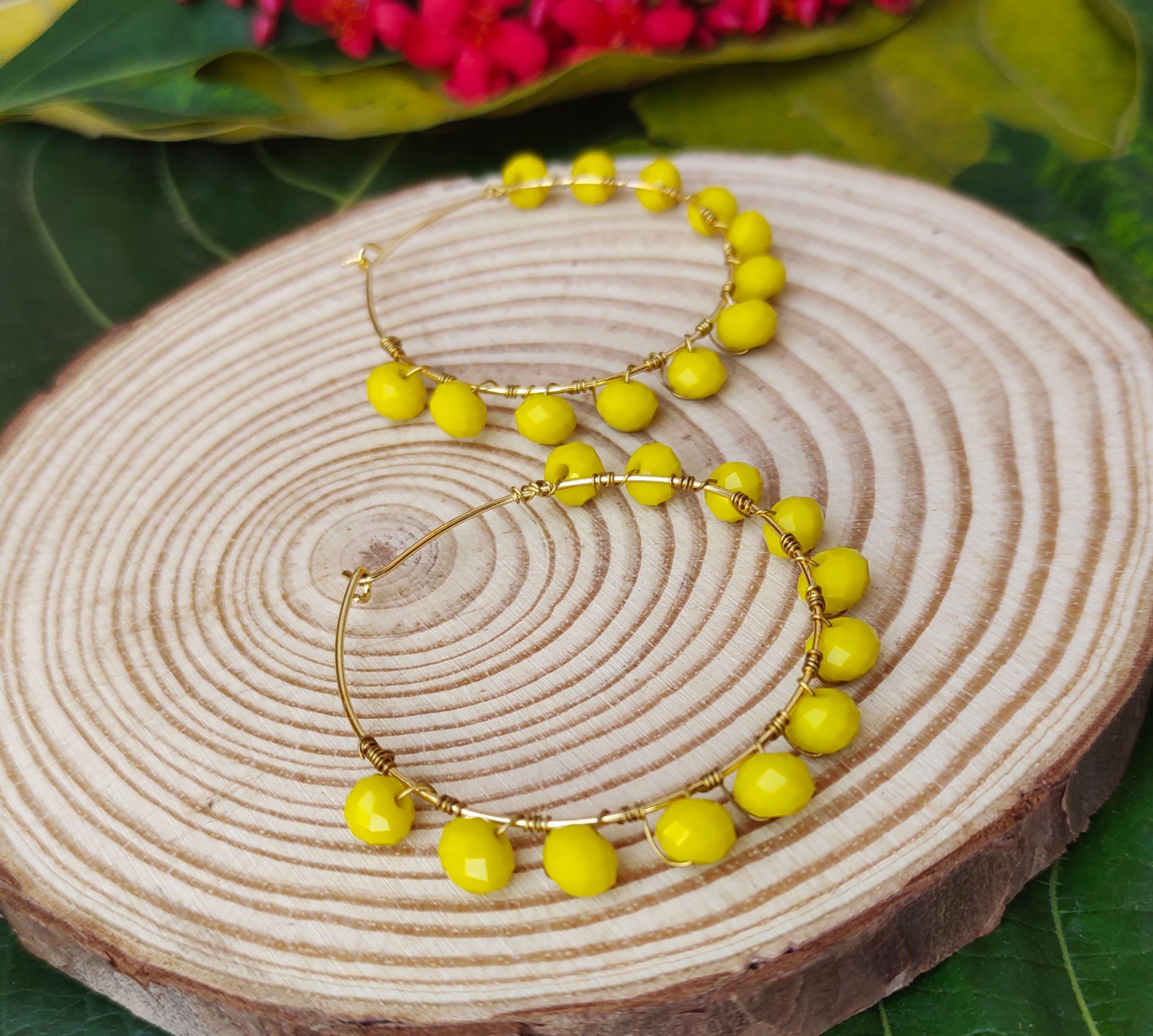 Women's Handmade Wire Wrapped Hoop Earrings Slider Thumbnail 4/6