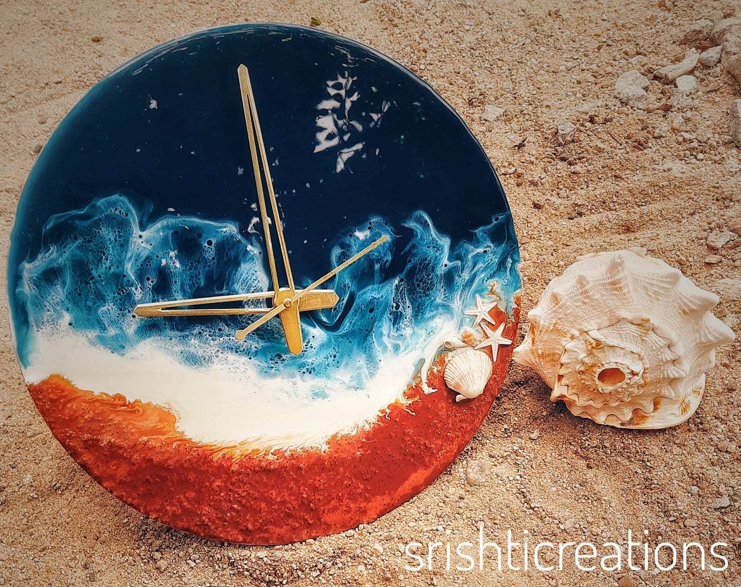 Alcohol Ink Clock(Waves)