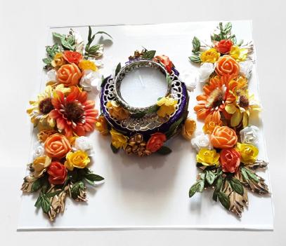 Sunflower Diya Plate Slider Thumbnail 2/3