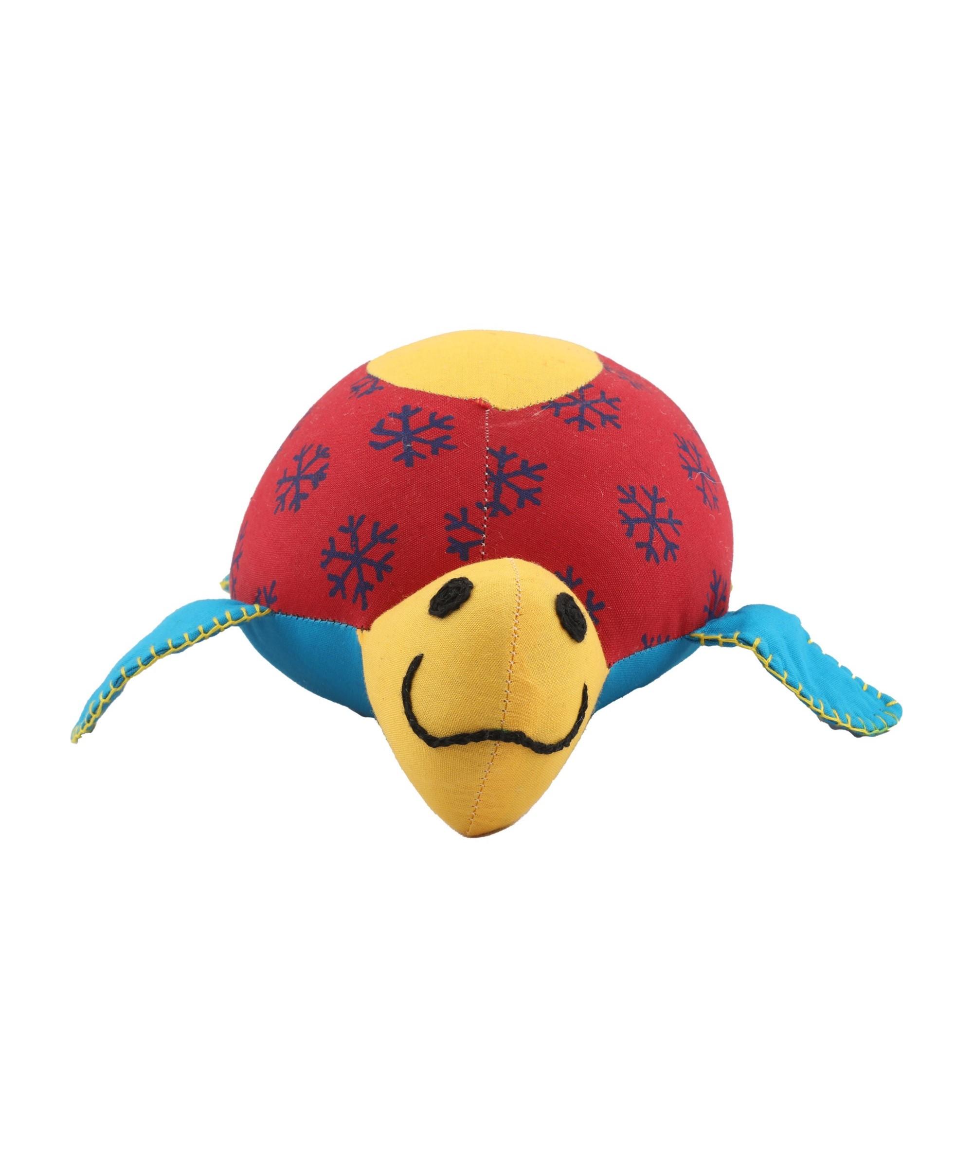 Patchwork Block Printed Soft Toy Tortoise - Big (Multicoloured) Slider Thumbnail 3/3