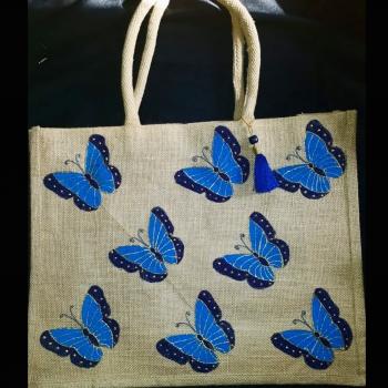Blue Butterflies - Designer Hand Painted Jute Bags