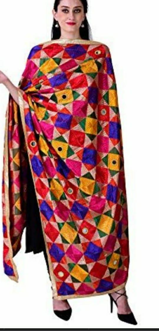 Punjabi Phulkari Dupatta with Mirror Work Slider Thumbnail 3/3