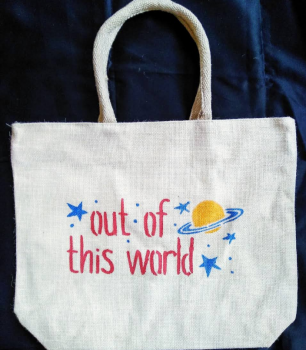 Out Of This World - Designer Hand Painted Jute Bags