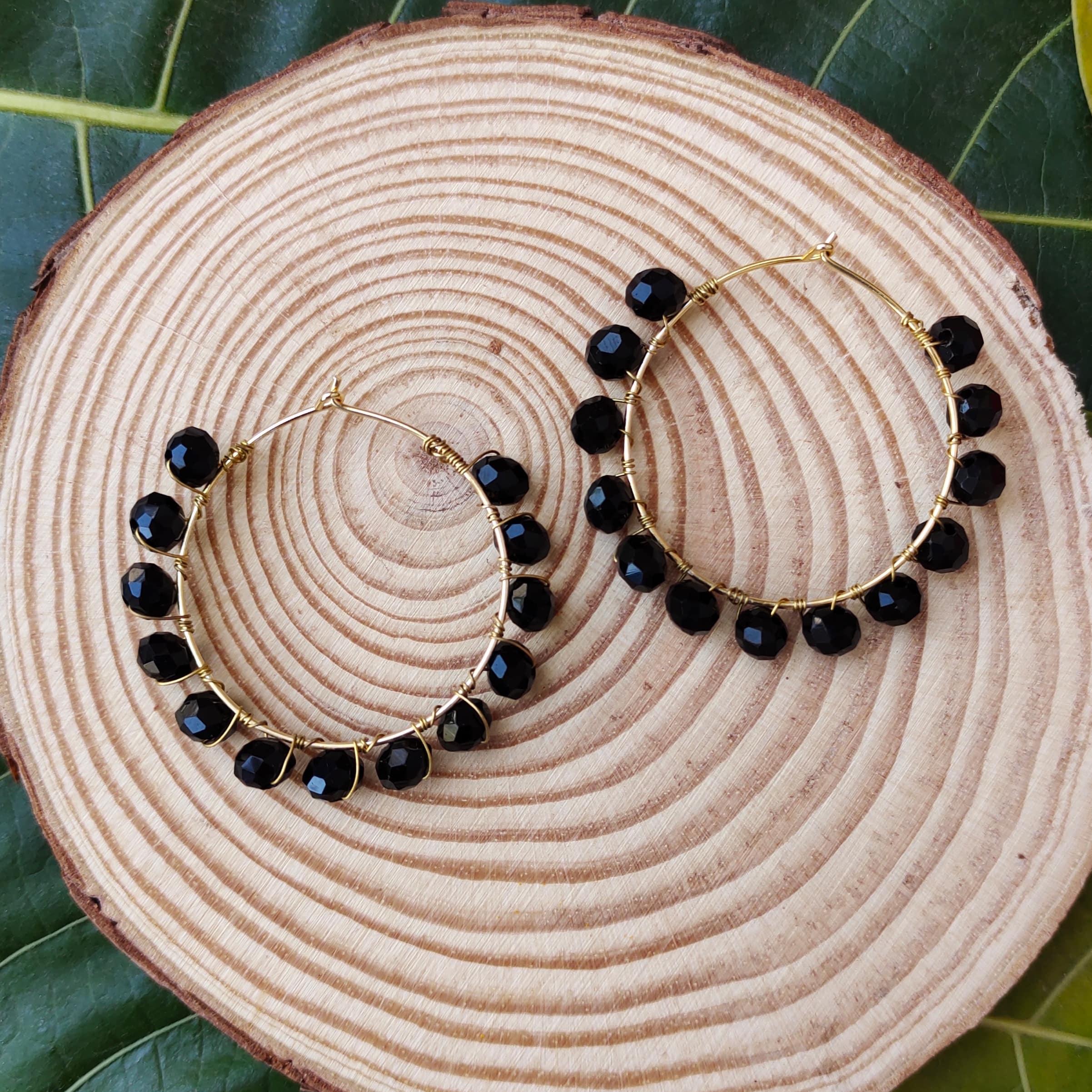 Women's Handmade Wire Wrapped Hoop Earrings Slider Thumbnail 1/6