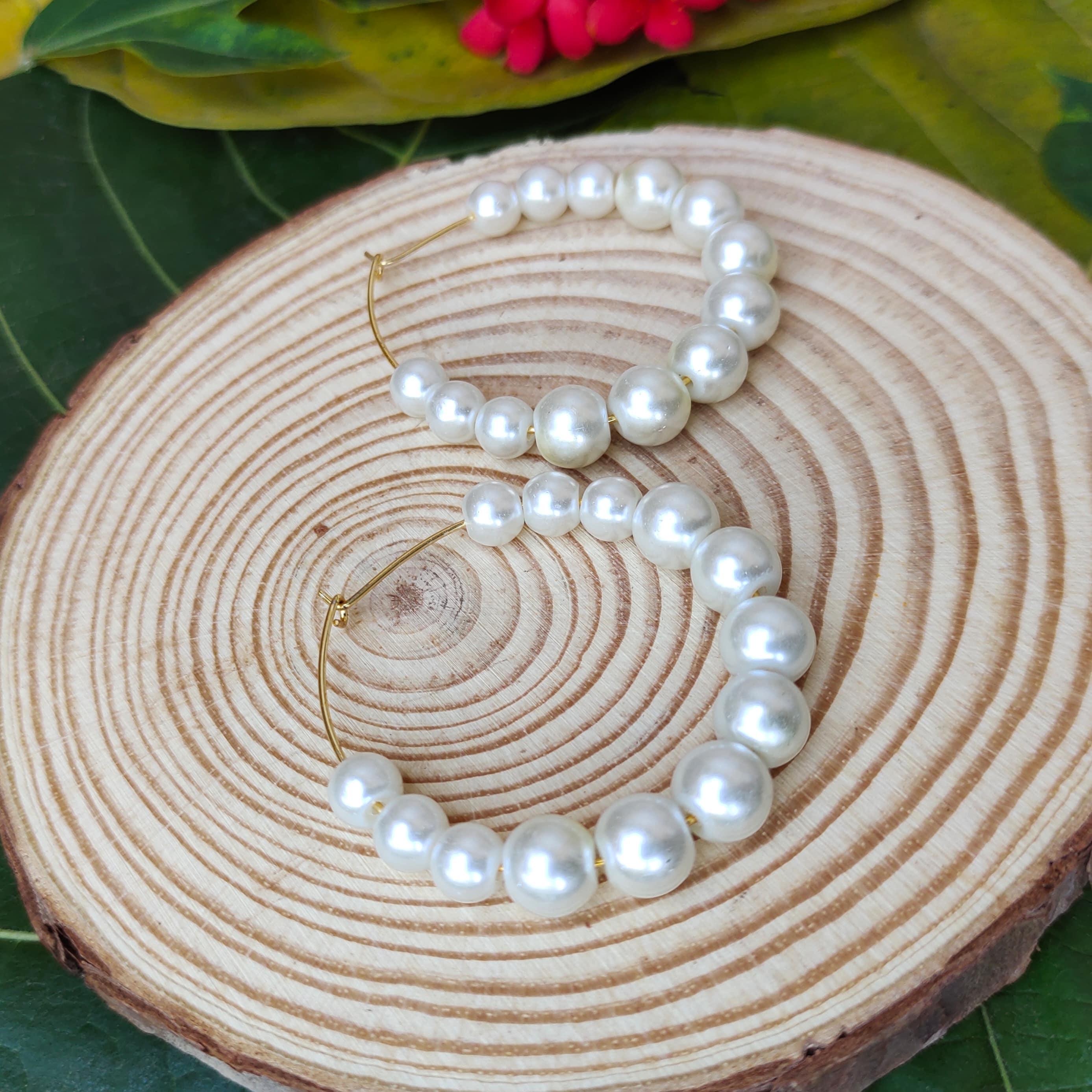 Women's Handmade Pearl Hoop Earrings Slider Thumbnail 3/3