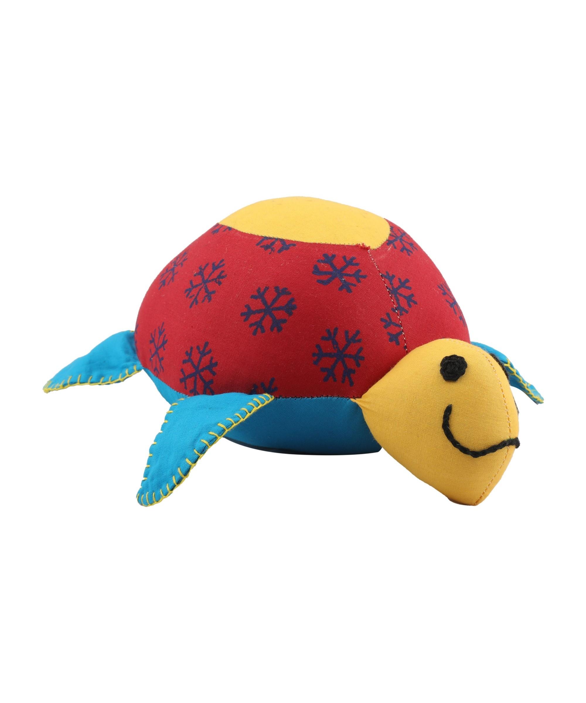 Patchwork Block Printed Soft Toy Tortoise - Big (Multicoloured) Slider Thumbnail 2/3