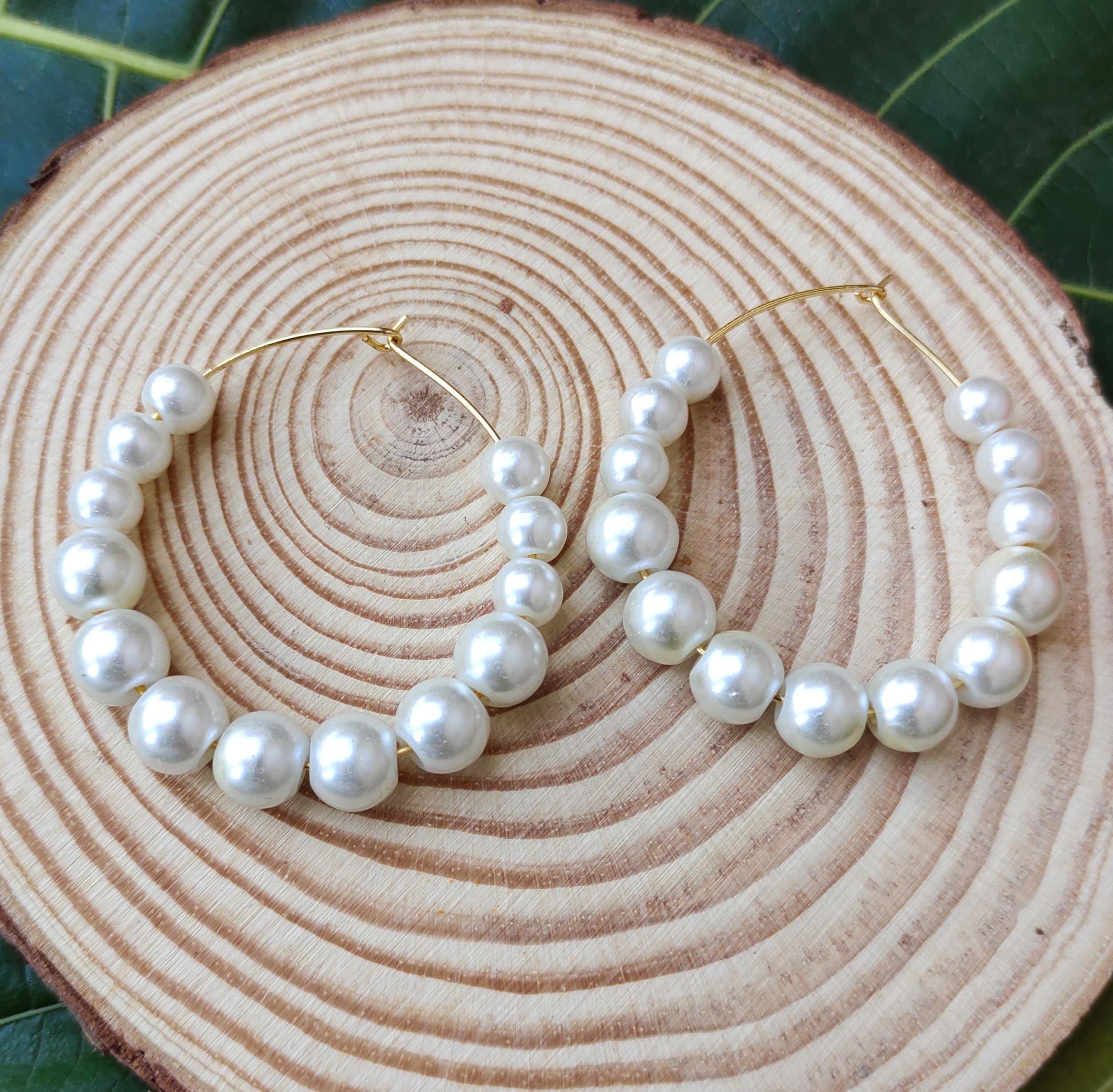 Women's Handmade Pearl Hoop Earrings Slider Thumbnail 1/3