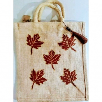 Maple Leaves in Natural Base - Designer Hand Painted Jute Bags