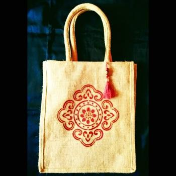 Intricate Pattern - Designer Hand Painted Jute Bags Slider Thumbnail 1/1