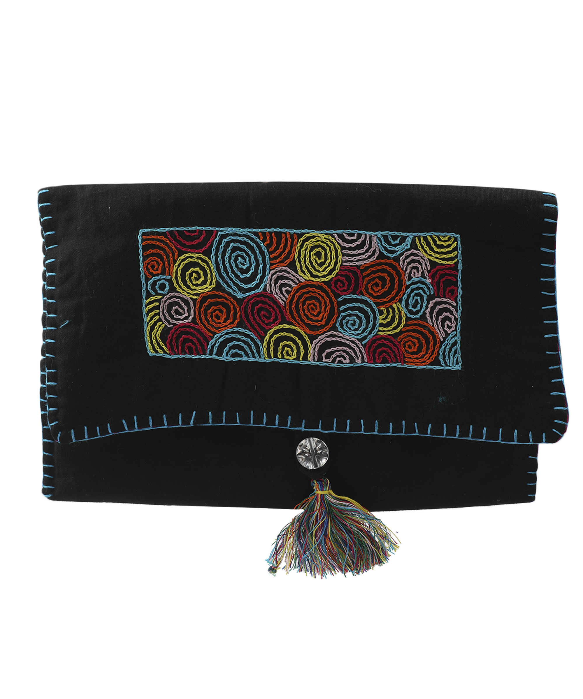 Women's Embroidered Clutch, Poplin Cotton Fabric (Spiral - Black) Slider Thumbnail 2/4
