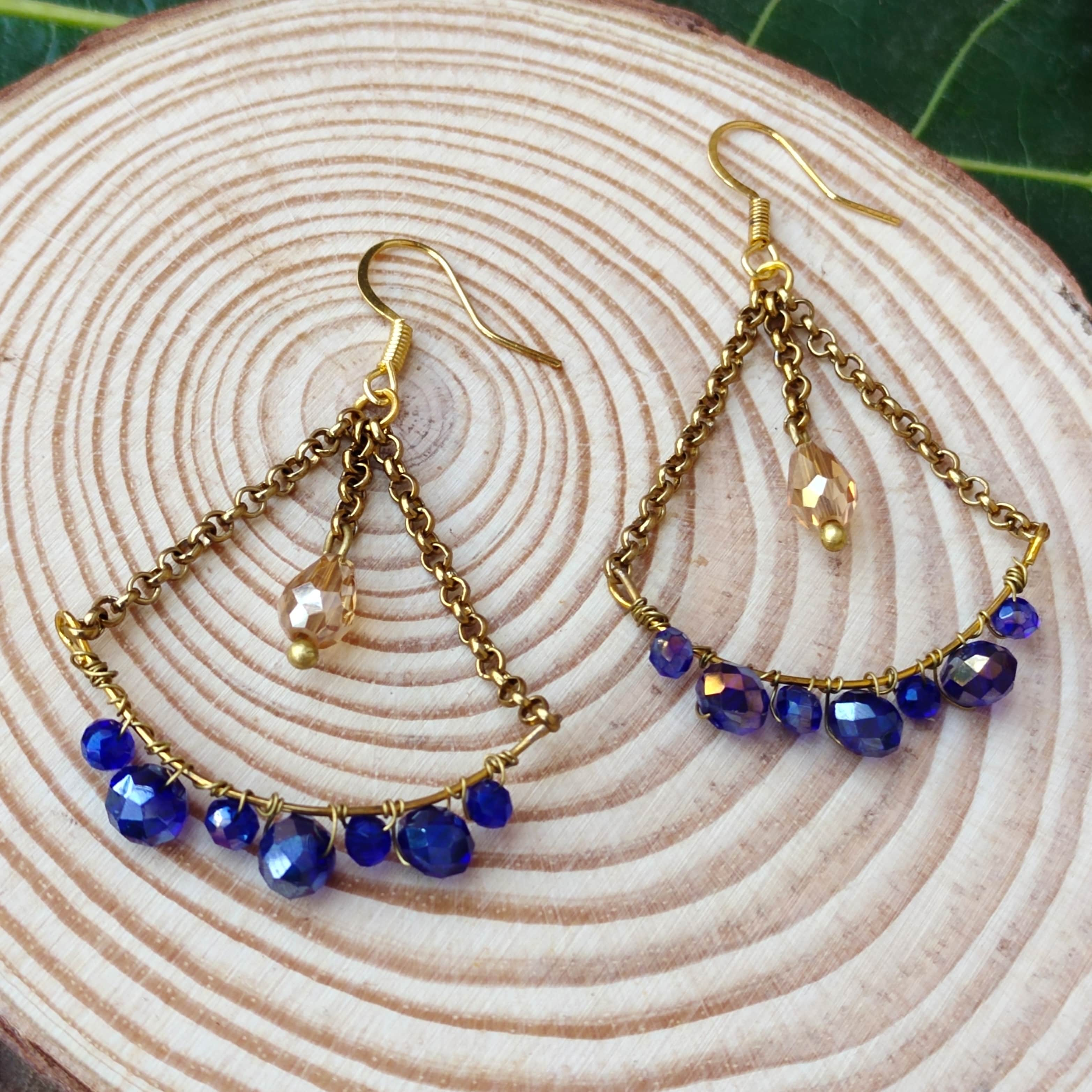 Women's  Handcrafted Wire Wrapped Drop Dangle Earrings Slider Thumbnail 2/3