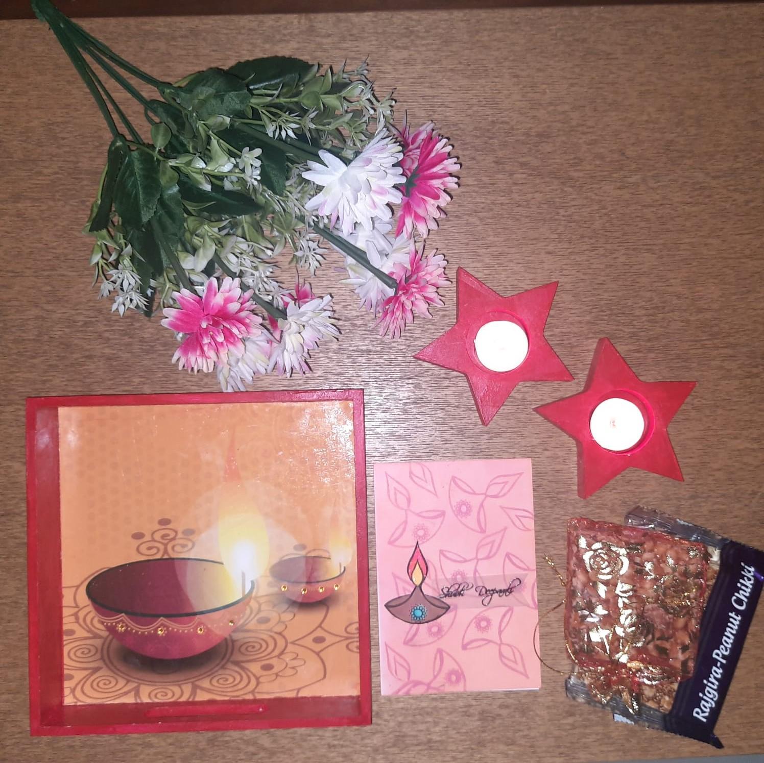 Diwali Hamper with Decoupage Tray, Tealights, Greeting Card, Chikkis Slider Thumbnail 1/4