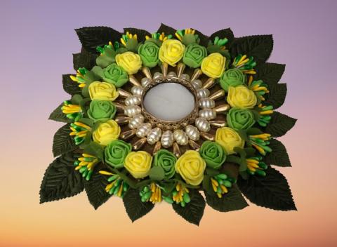 Flowers Diya Plate Slider Thumbnail 3/6