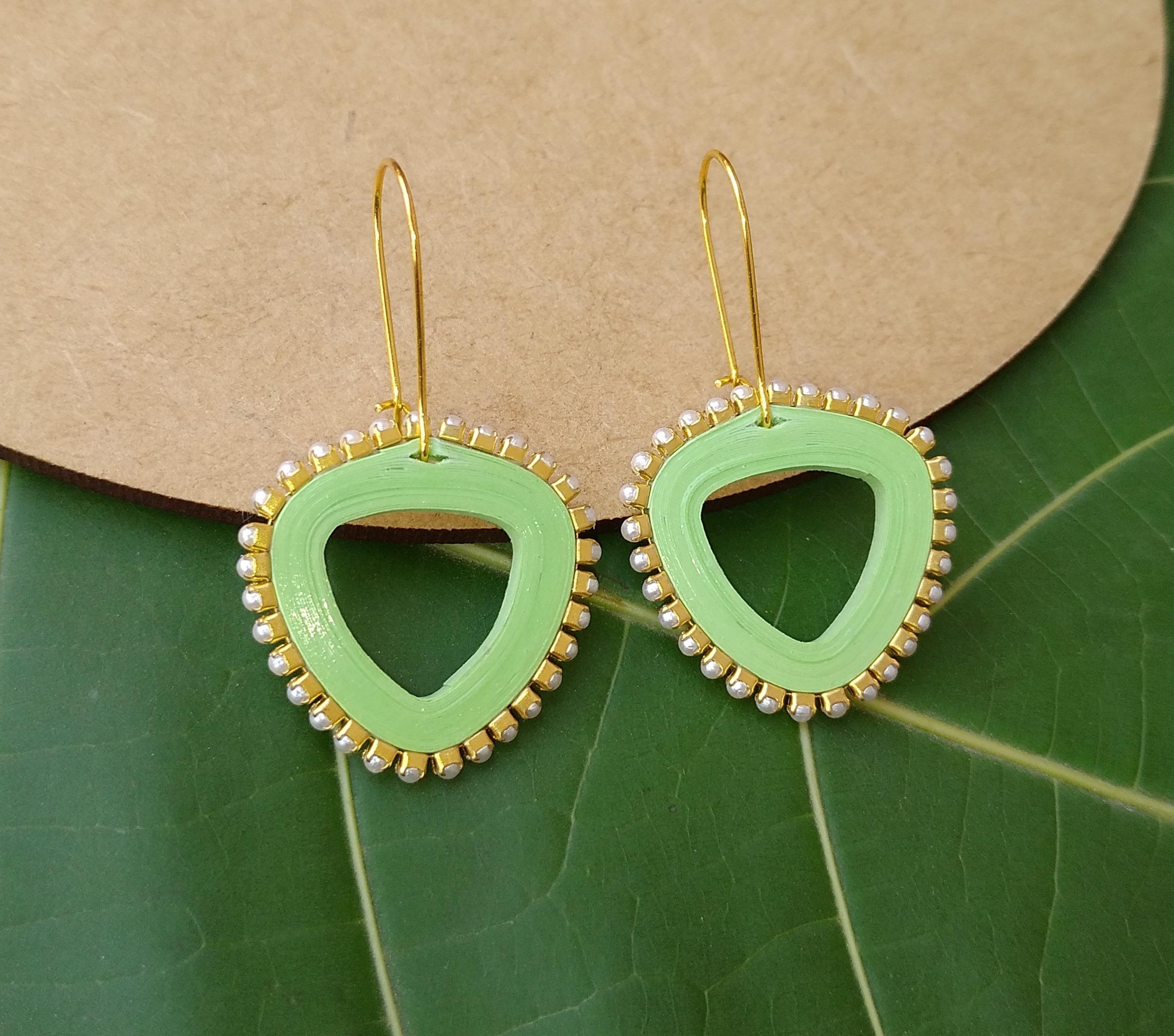 Women's Triangle drop Dangle Earrings Slider Thumbnail 2/6