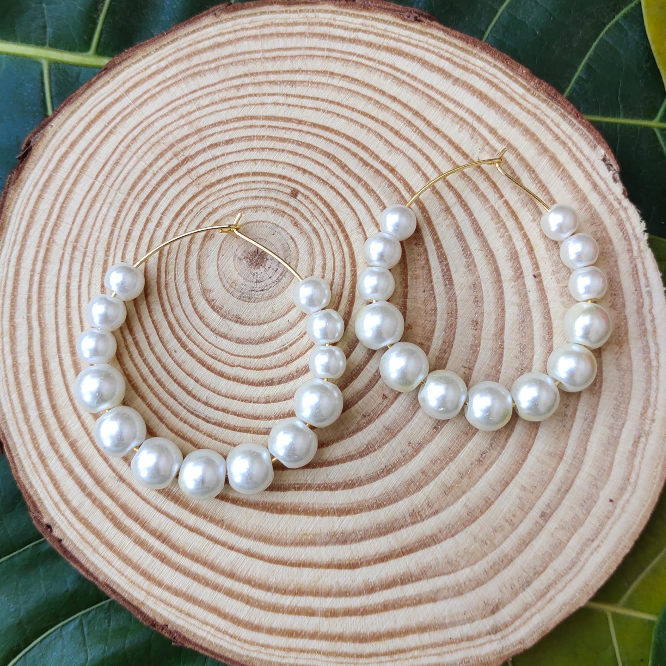 Women's Handmade Pearl Hoop Earrings Slider Thumbnail 2/3
