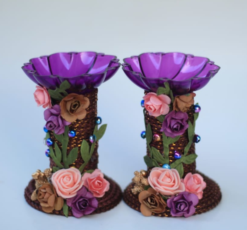 Assorted colors candle stands with Paper Flowers (Set of 2) Slider Thumbnail 5/8