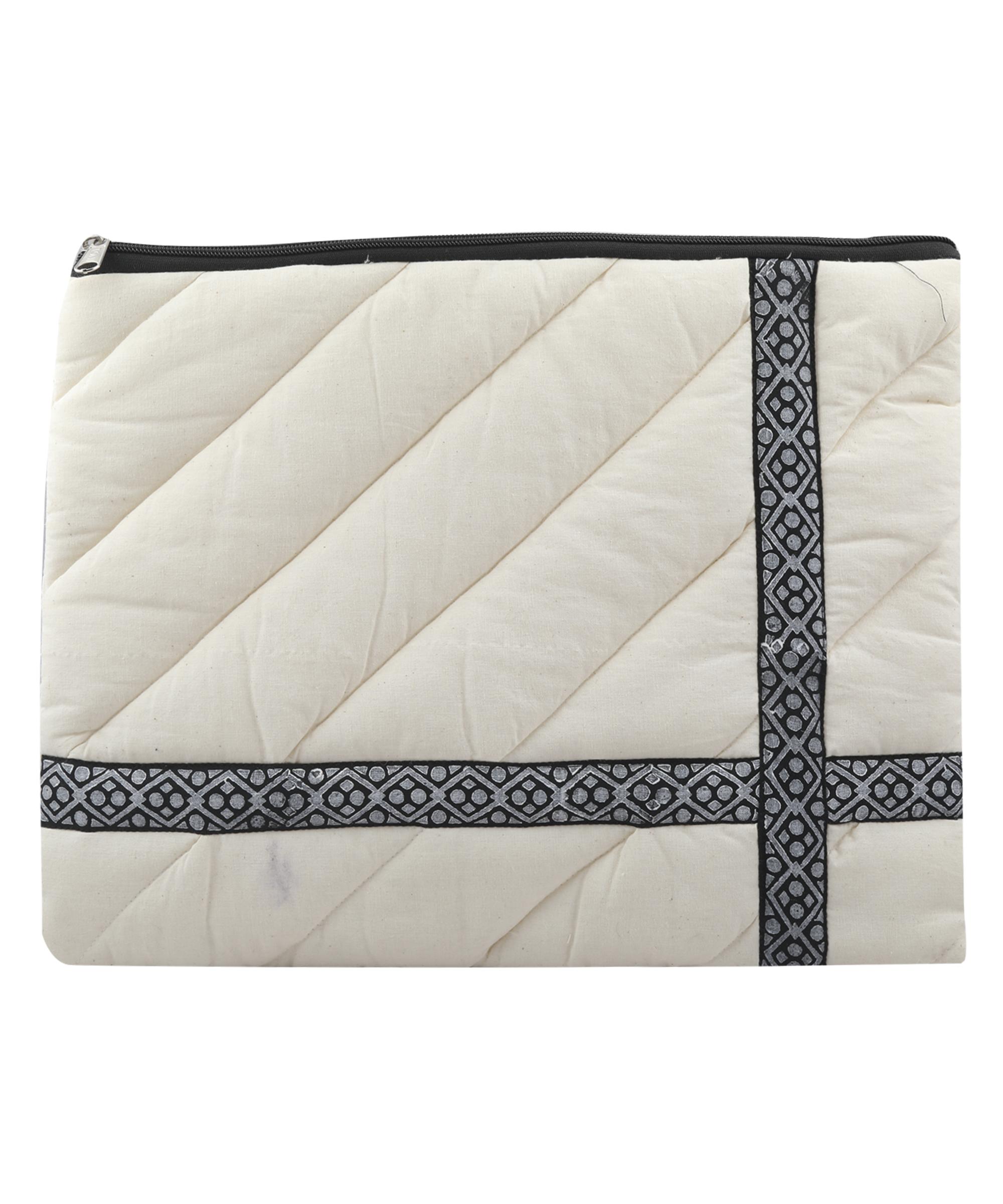 "Handmade block printed Laptop Sleeve, Kora Cotton, 16""x12"" for Laptop/Tablet/MacBook Slider Thumbnail 2/4"