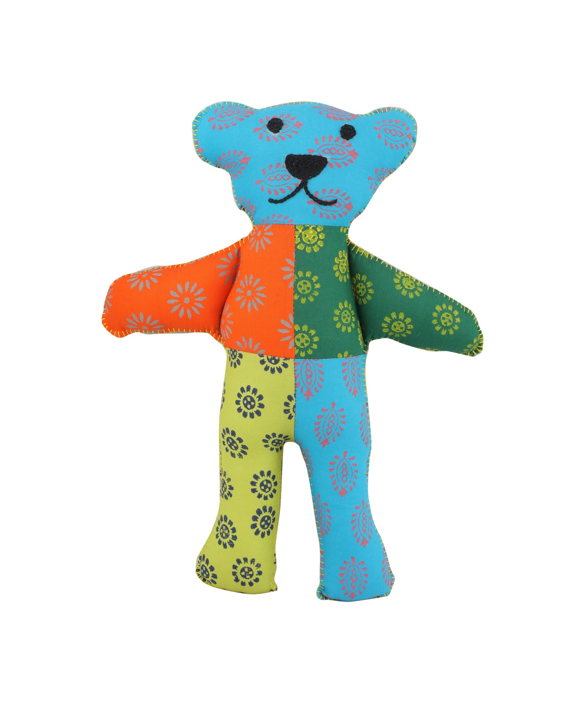 Patchwork Block Printed Soft Toy - Teddy (Multicoloured)