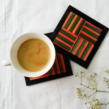 Multicolour Wooden Stick Coasters (Set of 4)