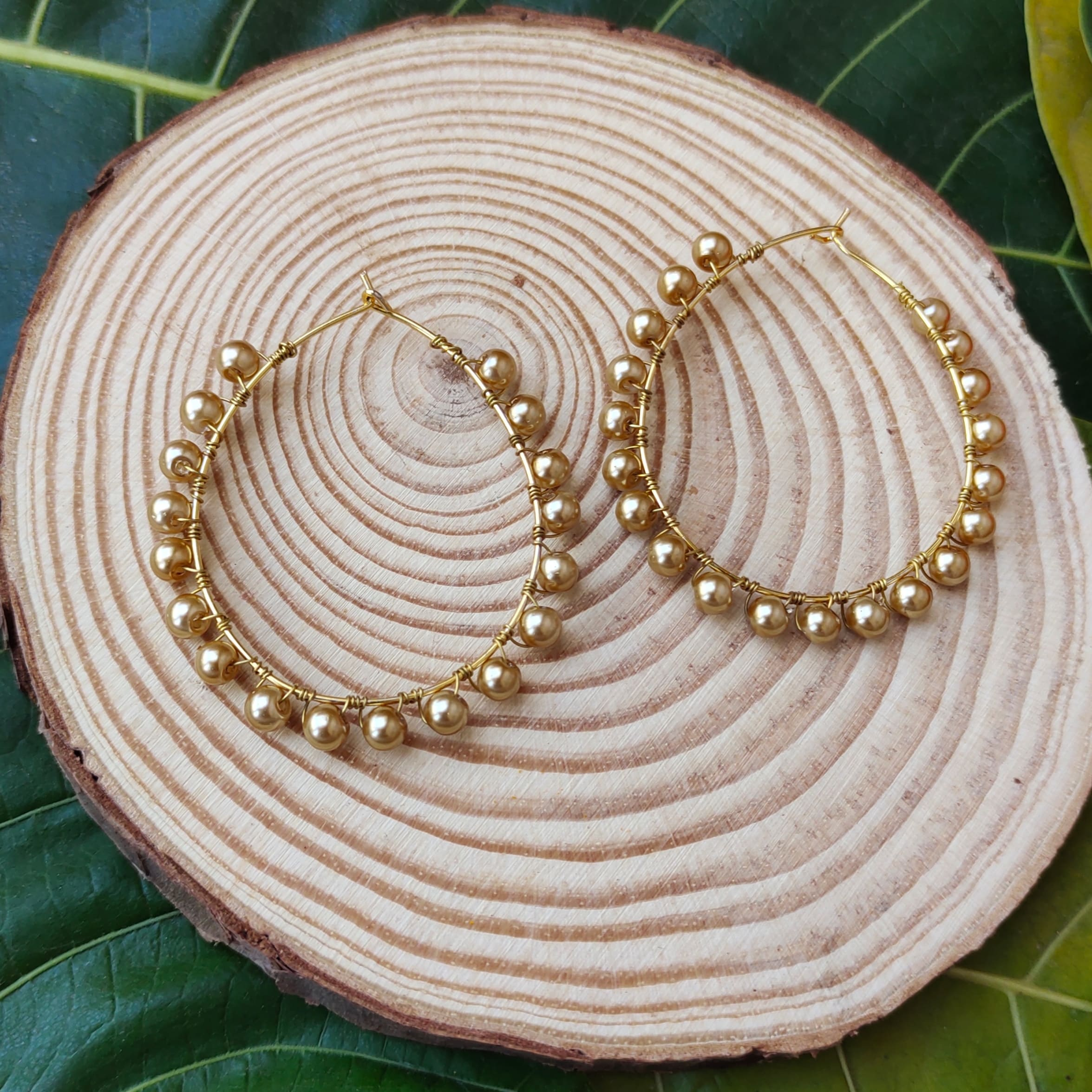 Women's Handmade Golden Pearl Wire Wrapped Hoop Earrings Slider Thumbnail 2/3