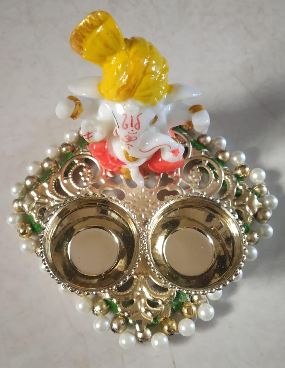 Decorative Kankavati with Ganpatiji (Roli and Chawal Platter) Slider Thumbnail 1/1