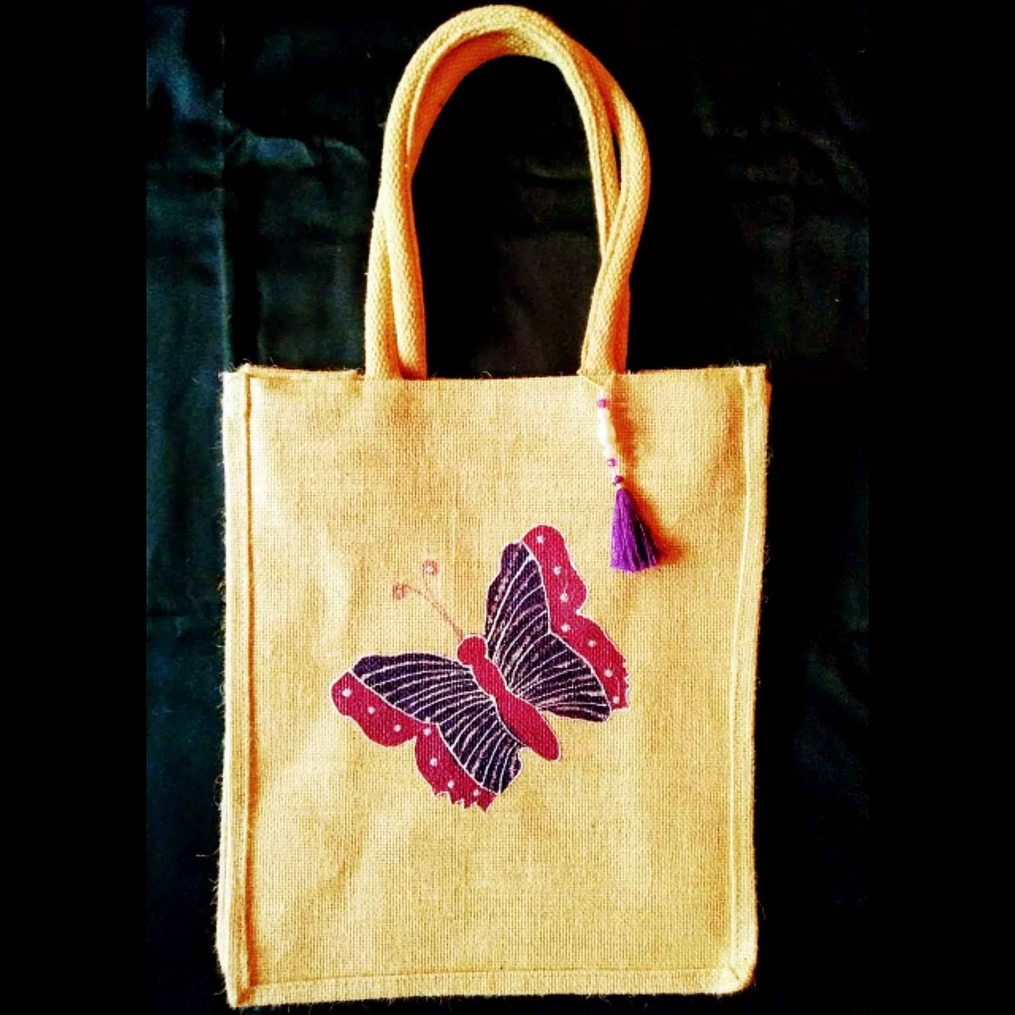 Solo Butterfly - Designer Hand Painted Jute Bags