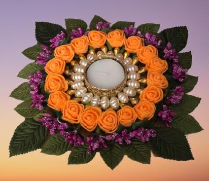 Flowers Diya Plate Slider Thumbnail 1/6