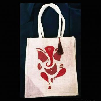 Ganpati - Designer Hand Painted Jute Bags Slider 1/1