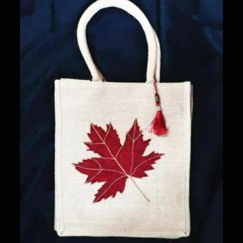 Single Maple Leaf - Designer Hand Painted Jute Bags Slider Thumbnail 1/1