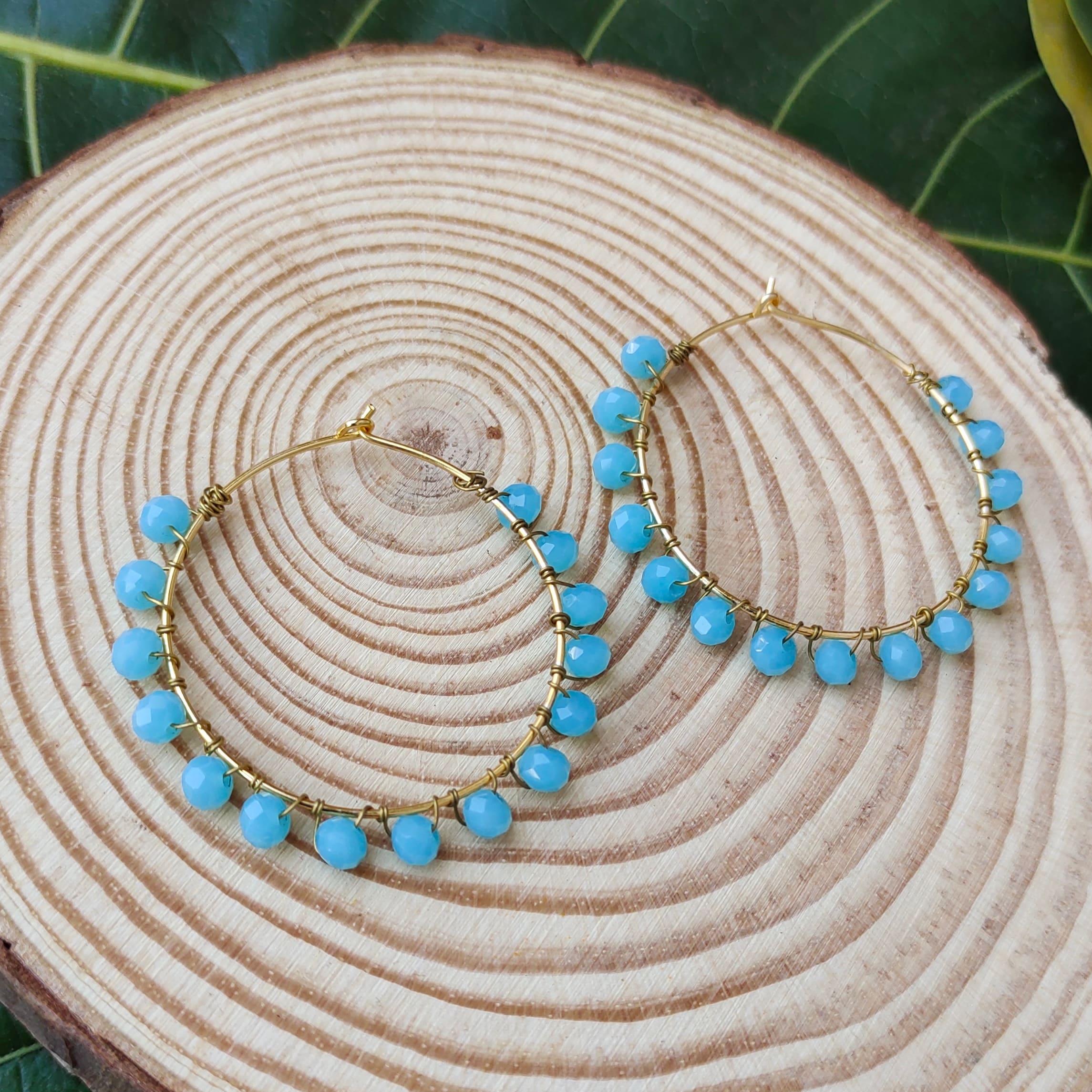 Women's Handmade Intricate Wire Wrapped beaded hoop Earrings Slider Thumbnail 1/3