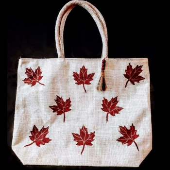 Maple Leaves in White Base - Designer Hand Painted Jute Bags